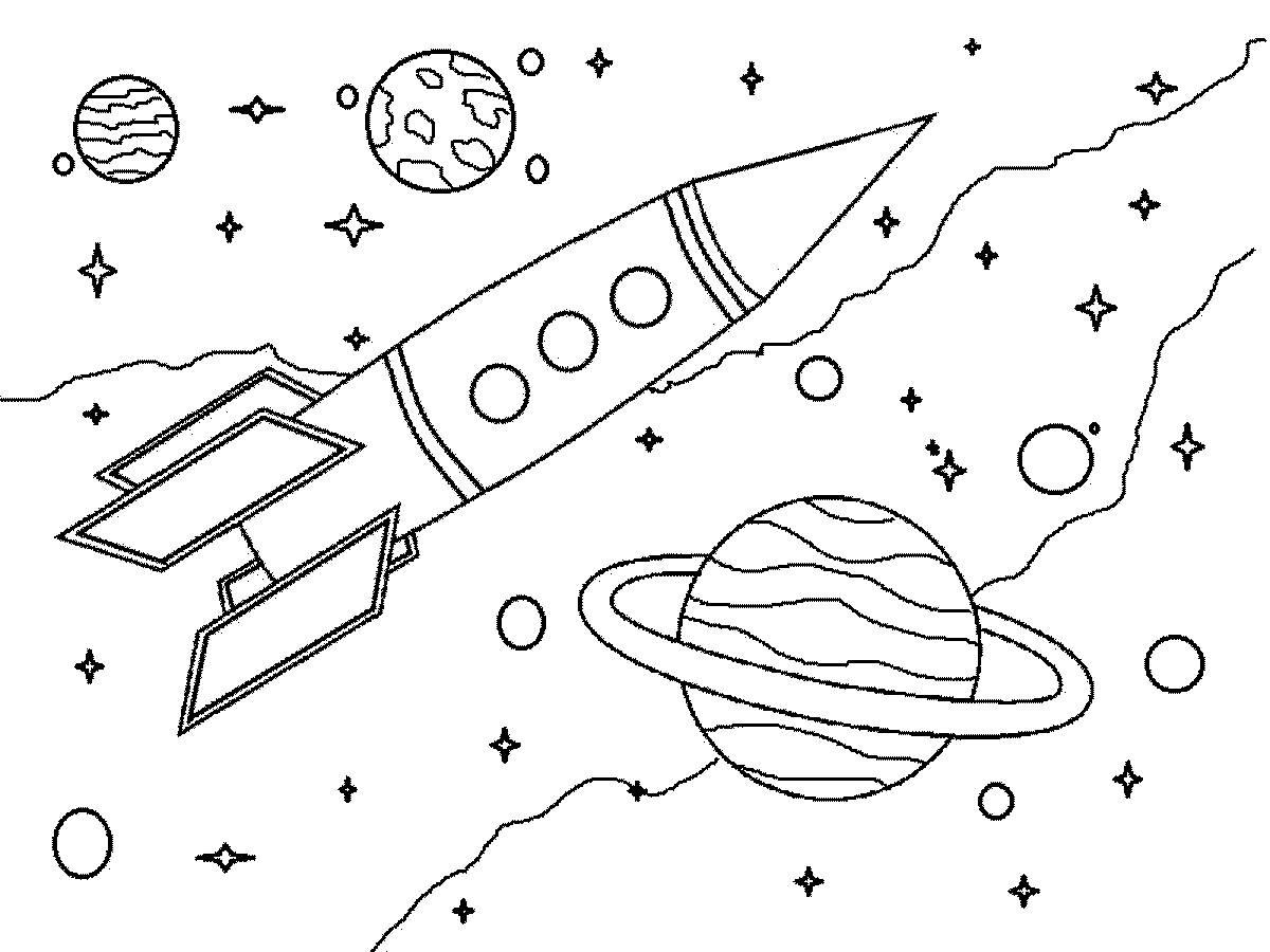 Человек в космосе раскраска