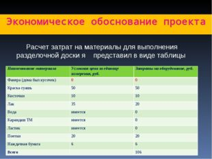 Экономическое обоснование проекта Расчет затрат на материалы для выполнения р