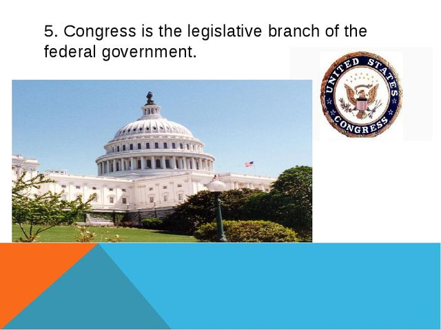 5. Congress is the legislative branch of the federal government.