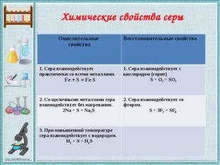 Химические свойства серы Окислительные свойства Восстановительные свойства 1