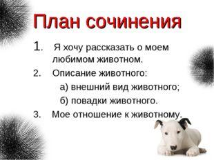 План сочинения 1. Я хочу рассказать о моем любимом животном. Описание животно