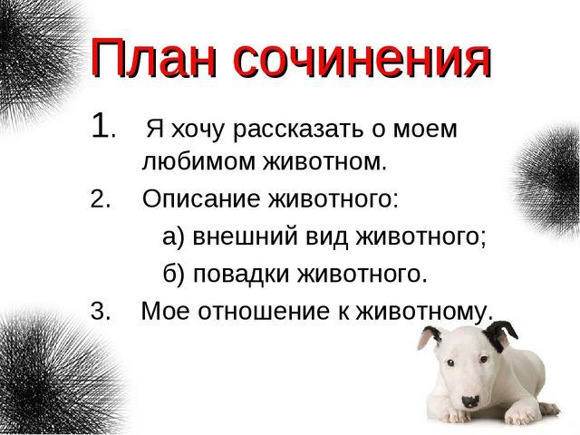План сочинения 1. Я хочу рассказать о моем любимом животном. Описание животно...