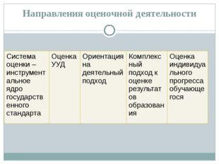 Направления оценочной деятельности Система оценки – инструментальное ядро гос