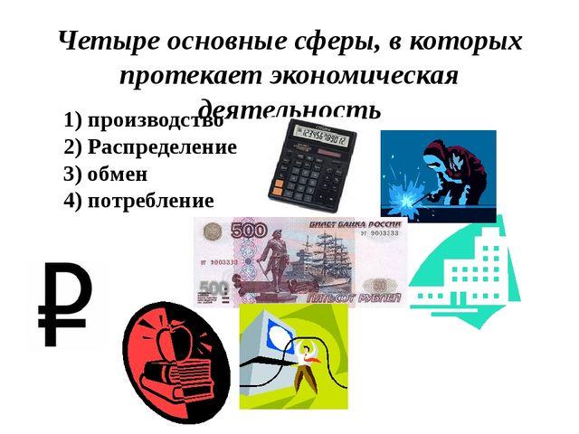 Четыре основные сферы, в которых протекает экономическая деятельность 1) прои...