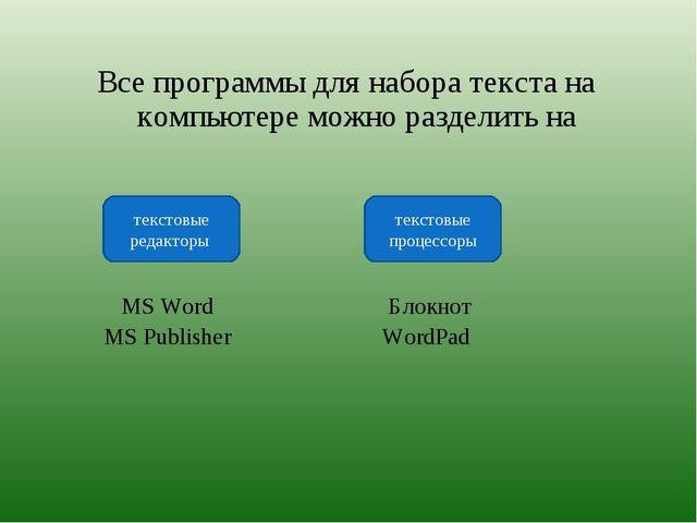 Все программы для набора текста на компьютере можно разделить на MS Word Бло...