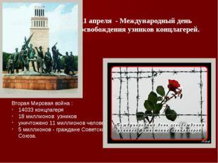 11 апреля - Международный день освобождения узников концлагерей. Вторая Миров