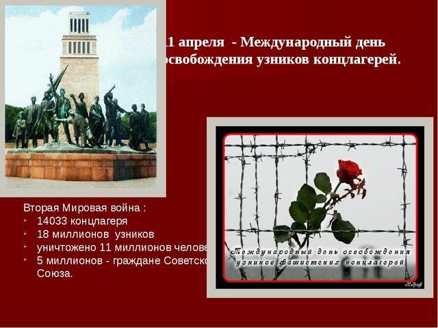 11 апреля - Международный день освобождения узников концлагерей. Вторая Миров...
