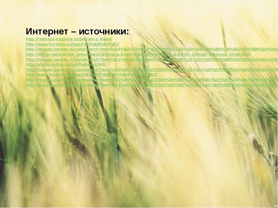Интернет – источники: http://rodnaya-tropinka.ru/detyam-o-hlebe/ http://www.f...