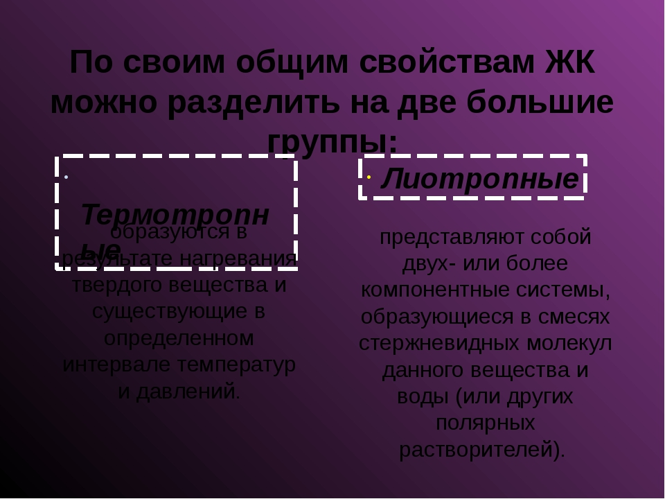 По своим общим свойствам ЖК можно разделить на две большие группы: Термотропн...
