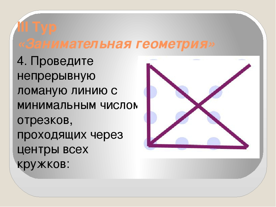 III Тур «Занимательная геометрия» 4. Проведите непрерывную ломаную линию с ми...