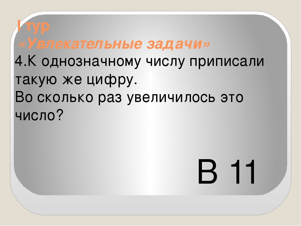 I тур «Увлекательные задачи» 4.К однозначному числу приписали такую же цифру...