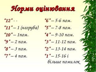 """Норми оцінювання """"12"""" - - """"11"""" – 1 (негруба) """"10"""" – 1пом. """"9"""" – 2 пом. """"8"""" –"""