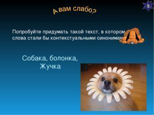 Собака, болонка, Жучка Попробуйте придумать такой текст, в котором эти слова