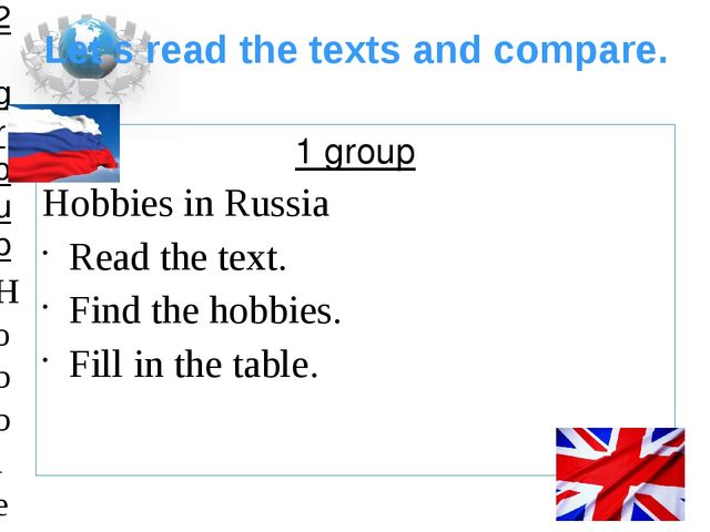 Let's read the texts and compare. 1 group Hobbies in Russia Read the text. Fi...