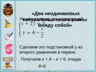 «Два неодинаковых натуральных числа равны между собой» Решим систему двух ур