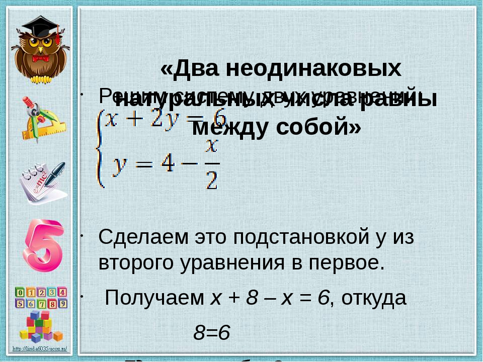 «Два неодинаковых натуральных числа равны между собой» Решим систему двух ур...