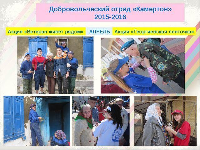 Добровольческий отряд «Камертон» 2015-2016 Акция «Ветеран живет рядом» Акция...