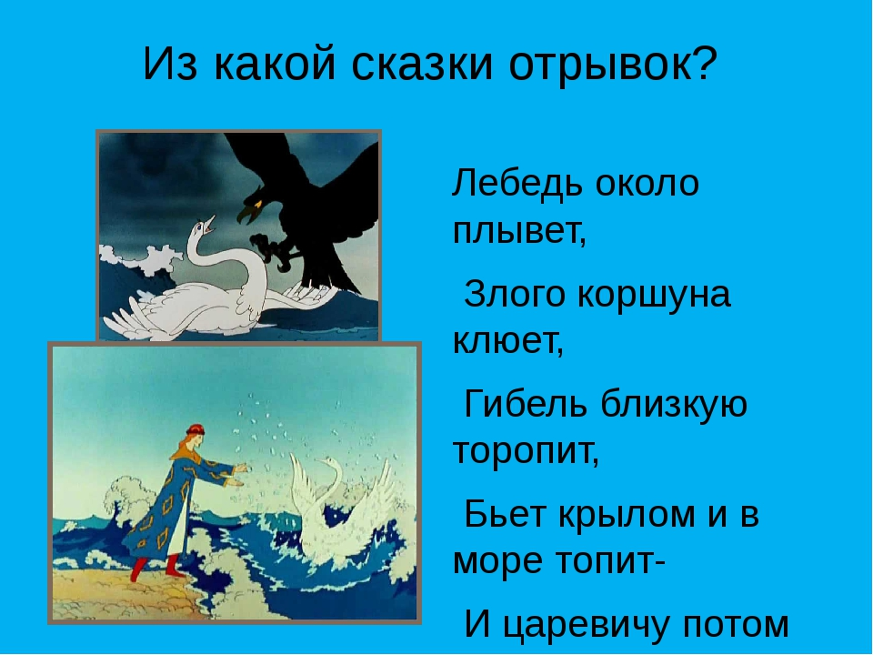 Из какой сказки отрывок? Лебедь около плывет, Злого коршуна клюет, Гибель бли...