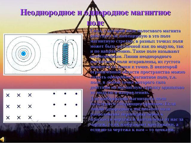 Неоднородное и однородное магнитное поле Сила, с которой поле полосового маг...
