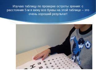 Изучаю таблицу по проверке остроты зрения: с расстояния 5 м я вижу все буквы