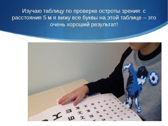 Изучаю таблицу по проверке остроты зрения: с расстояния 5 м я вижу все буквы...