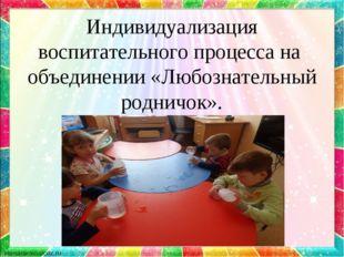Индивидуализация воспитательного процесса на объединении «Любознательный родн