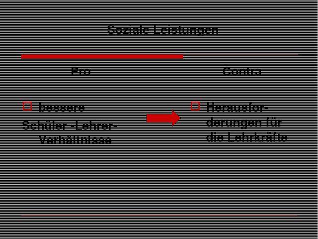 Soziale Leistungen Pro bessere Schüler -Lehrer-Verhältnisse Contra Herausfor-...