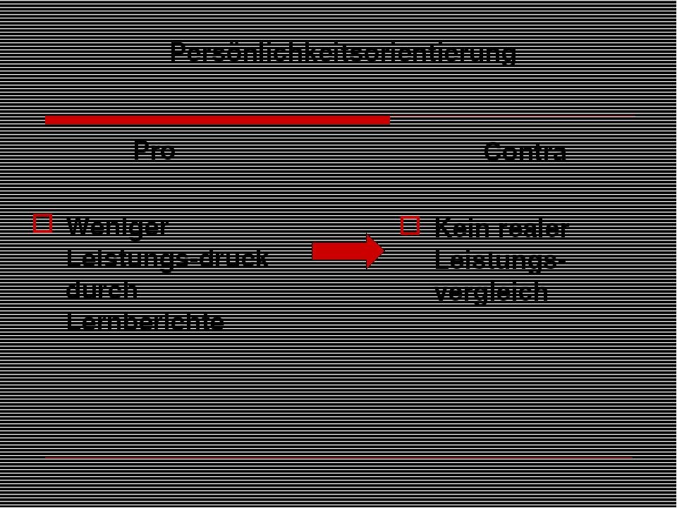 Persönlichkeitsorientierung Pro Weniger Leistungs-druck durch Lernberichte Co...