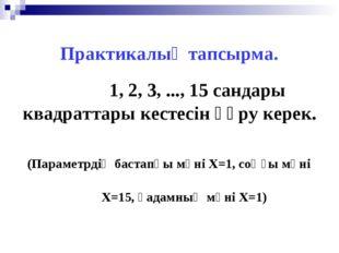 Практикалық тапсырма. 1, 2, 3, ..., 15 сандары квадраттары кестесін құру кере