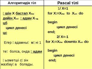 Алгоритмдік тілPascal тілі үшін Х бастап Хбас дейін Хсоң қадам Хқад цб цикл
