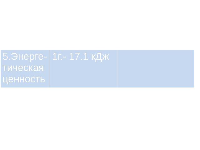 5.Энерге-тическая ценность 1г.- 17.1 кДж