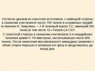 Согласно данным из советских источников, с немецкой стороны в сражении участв