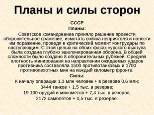 Планы и силы сторон СССР Планы: Советское командование приняло решение провес