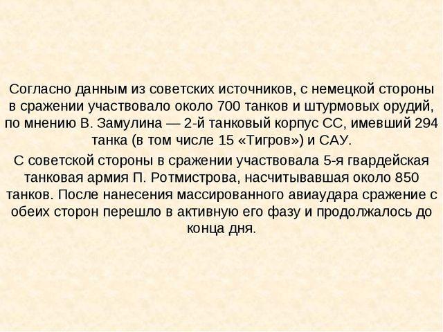 Согласно данным из советских источников, с немецкой стороны в сражении участв...