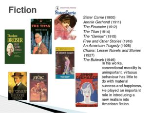 Fiction Sister Carrie (1900) Jennie Gerhardt (1911) The Financier (1912) The