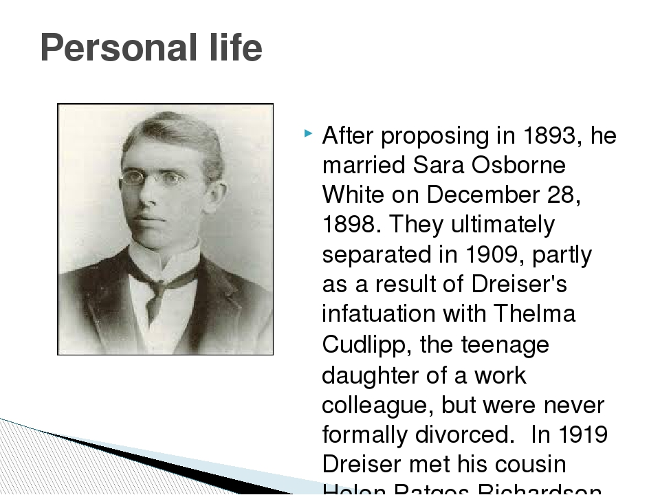 After proposing in 1893, he married Sara Osborne White on December 28, 1898....