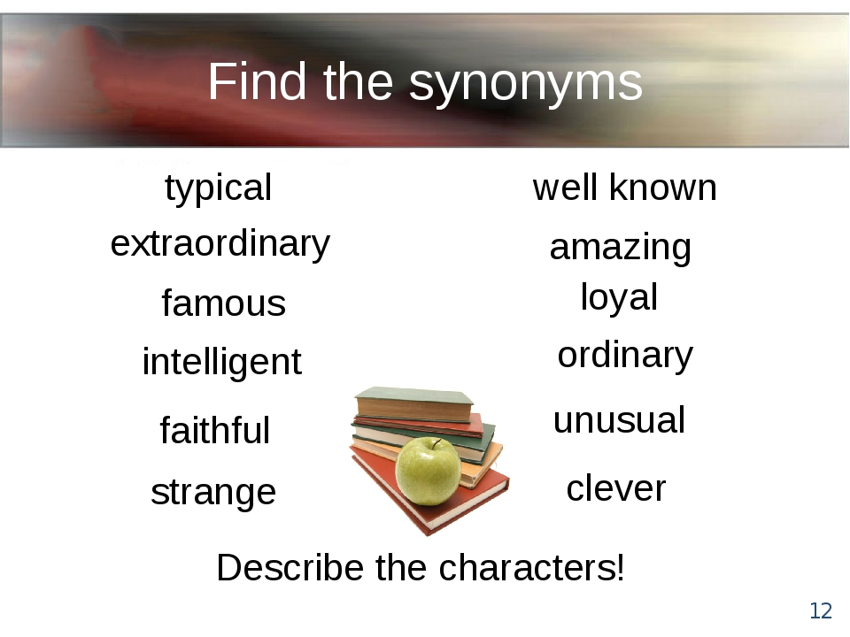 Find the synonyms Describe the characters! typical famous faithful intelligen...