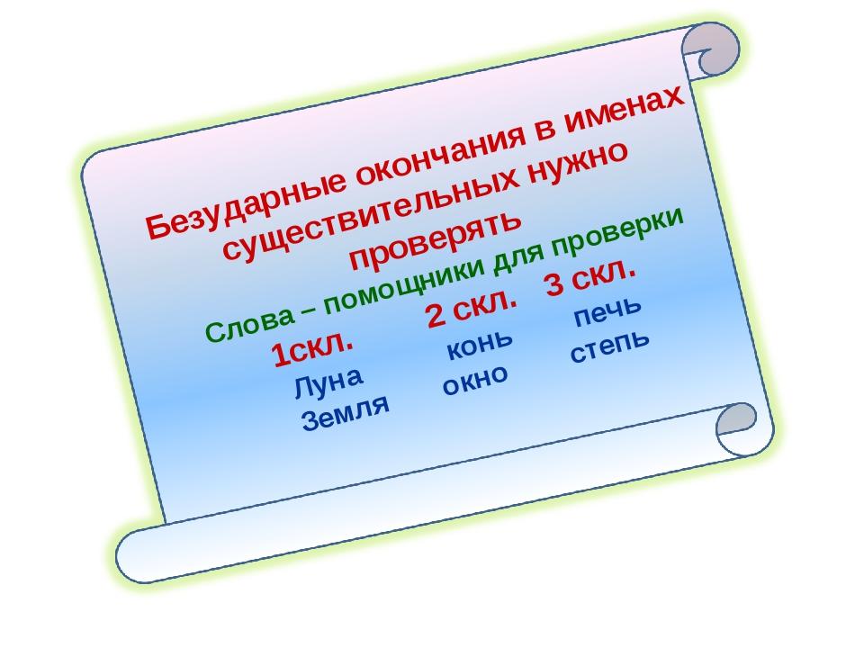 Безударные окончания в именах существительных нужно проверять Слова – помощни...
