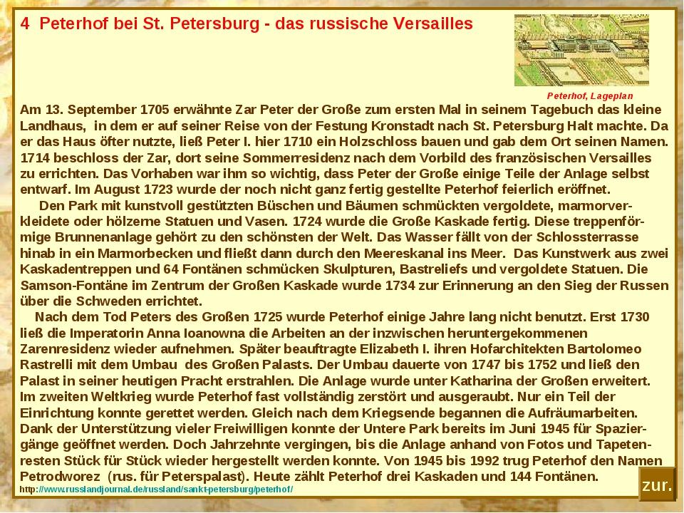 4 Peterhof bei St. Petersburg - das russische Versailles Peterhof, Lageplan A...