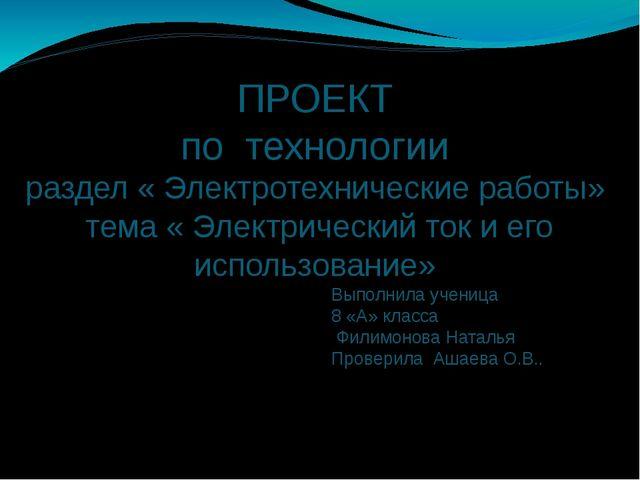 ПРОЕКТ по технологии раздел « Электротехнические работы» тема « Электрический...