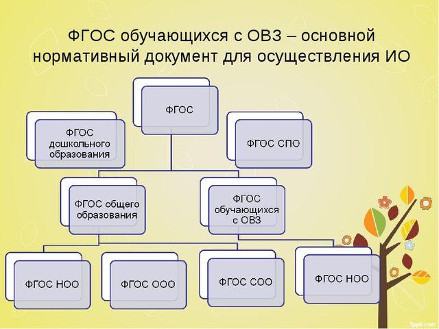 ФГОС обучающихся с ОВЗ – основной нормативный документ для осуществления ИО