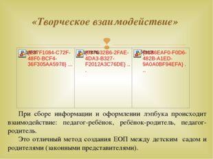 «Творческое взаимодействие» При сборе информации и оформлении лэпбука происх