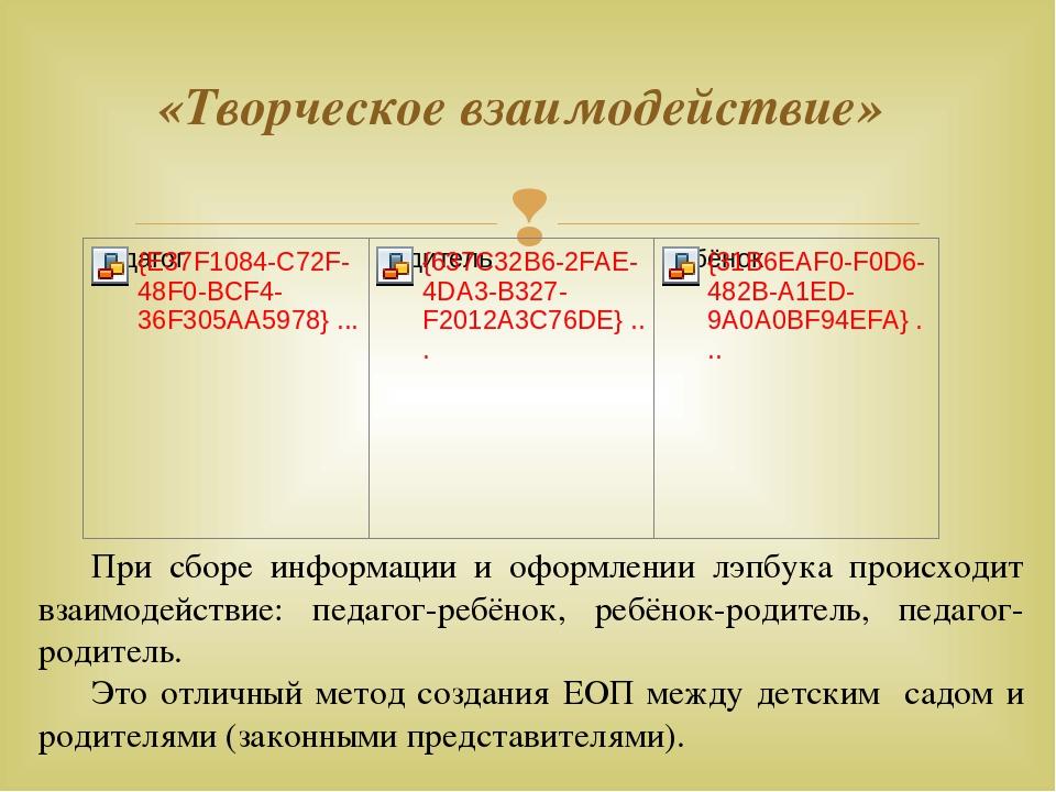 «Творческое взаимодействие» При сборе информации и оформлении лэпбука происх...