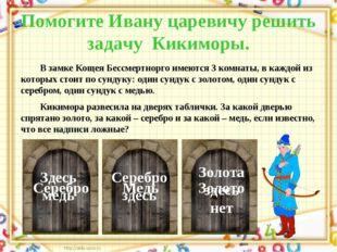 Помогите Ивану царевичу решить задачу Кикиморы. В замке Кощея Бессмертнорго и