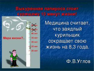 Выкуренная папироса стоит курящему 15 минут жизни! Медицина считает, что заяд