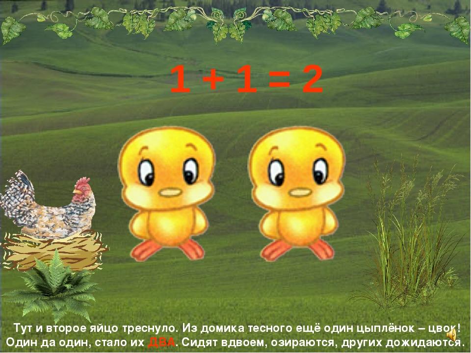Тут и второе яйцо треснуло. Из домика тесного ещё один цыплёнок – цвок! Один...