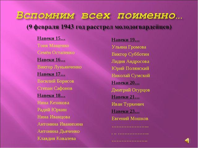 Навеки 15… Тоня Мащенко Семён Остапенко Навеки 16… Виктор Лукьянченко Навеки...