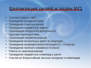 Реализация целей и задач МО Участие в работе ОМО Проведение заседаний ШМО Про