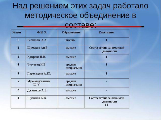 Над решением этих задач работало методическое объединение в составе: № п/пФ....