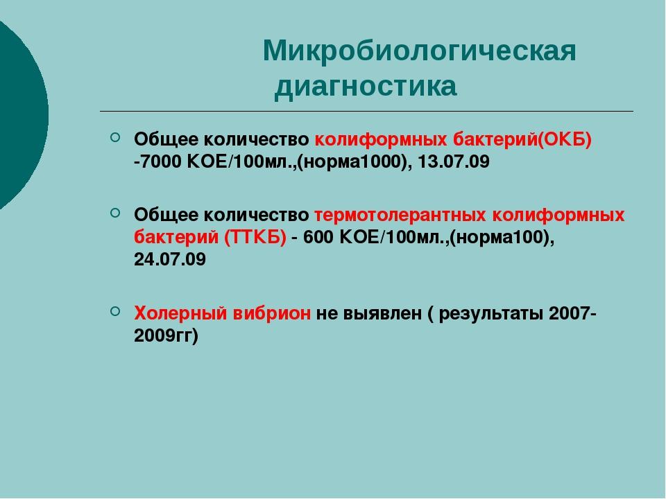 Микробиологическая диагностика Общее количество колиформных бактерий(ОКБ) -7...